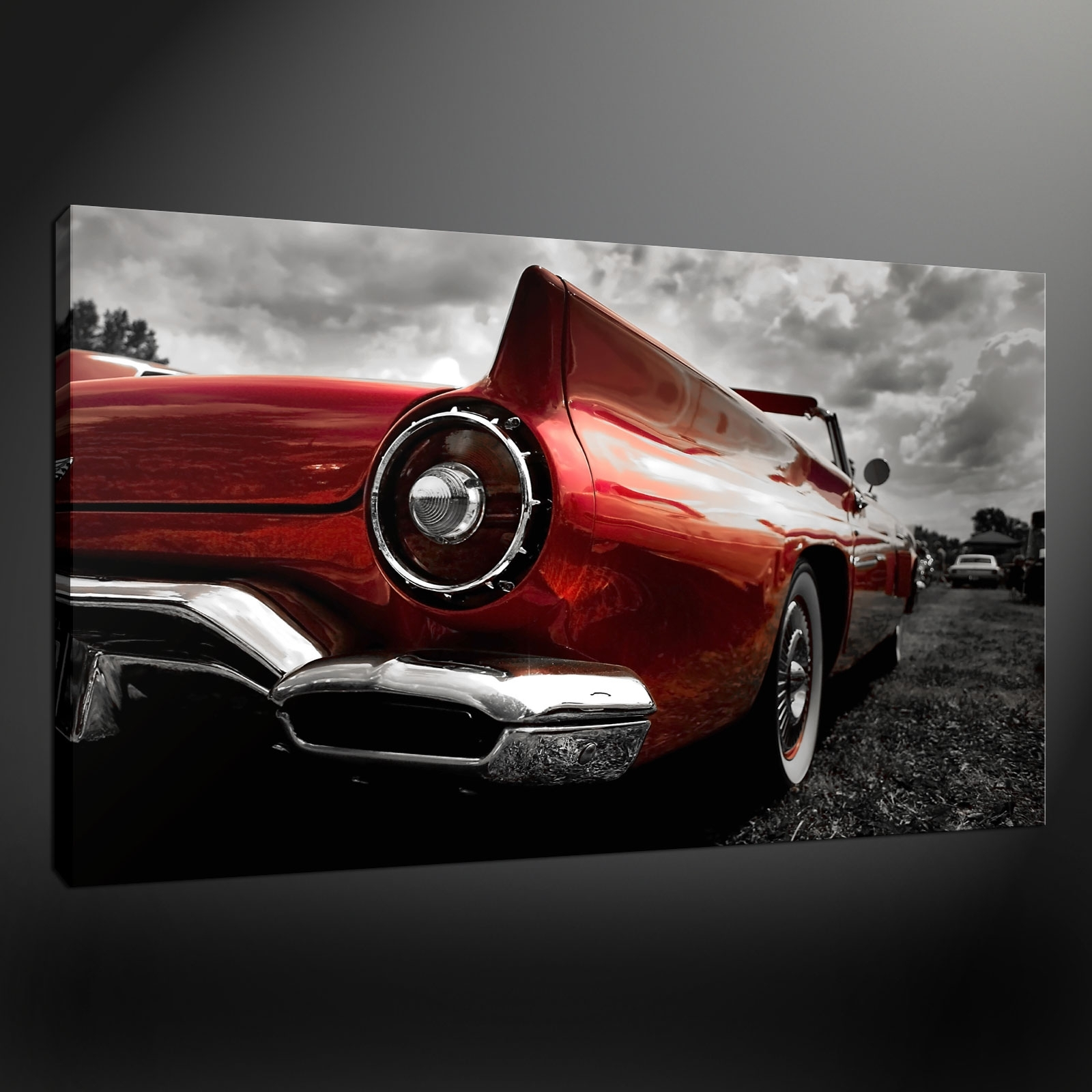 Favorite Car Canvas Wall Art Regarding Classic Red Car Canvas Print Picture Wall Art (View 11 of 20)