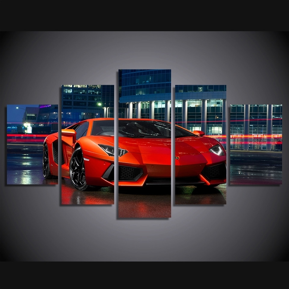 Favorite Car Canvas Wall Art Throughout Modular Poster Wall Art Canvas Hd Printed Pictures 5 Pieces Red (View 12 of 20)