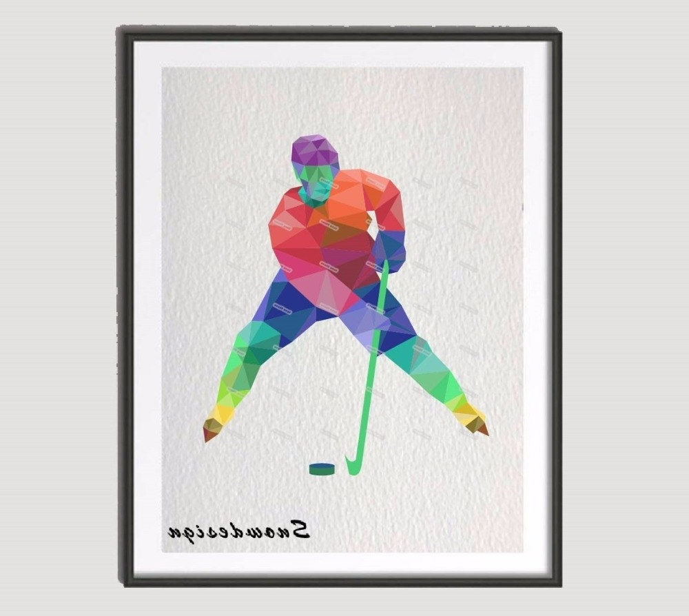 Favorite Coral Wall Art Pertaining To Low Poly Modern Geometric Coral Ice Hockey Canvas Painting Wall Art (View 14 of 20)