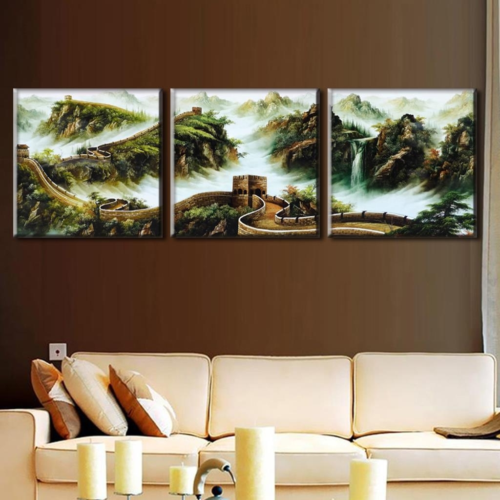 Favorite Discount Wall Art Regarding Discount Framed Painting 3 Pcs/set Traditional Chinese Landscape (View 12 of 20)