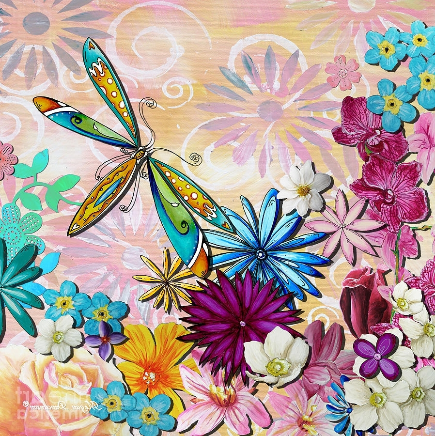 Favorite Dragonfly Painting Wall Art Inside Whimsical Floral Flowers Dragonfly Art Colorful Uplifting Painting (View 11 of 20)
