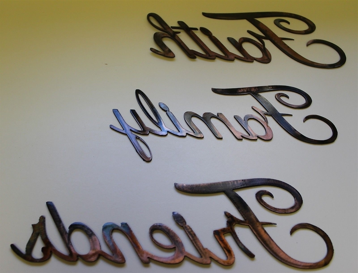 "Favorite Family Metal Wall Art Pertaining To Faith, Family, Friends"" Metal Art Words (Gallery 7 of 15)"