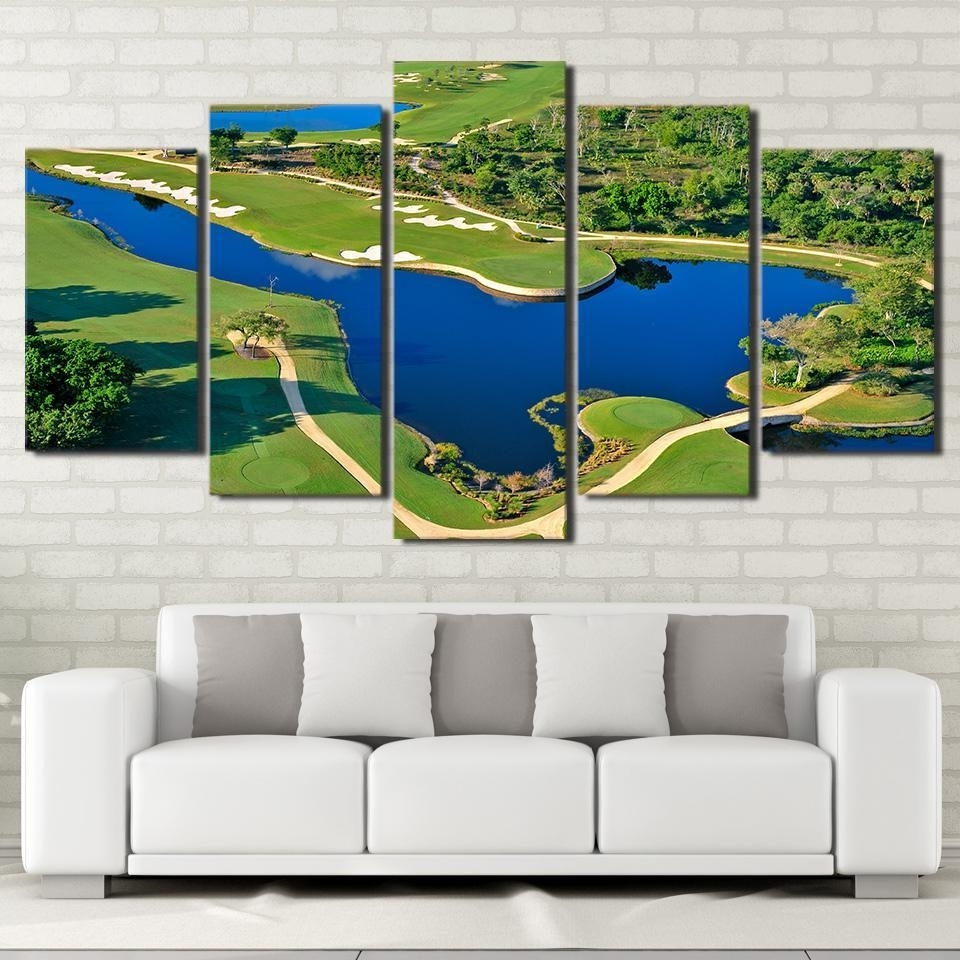Favorite Framed 5 Piece Golf Course Beautiful Pool Canvas Wall Art Paintings In Golf Canvas Wall Art (Gallery 7 of 20)