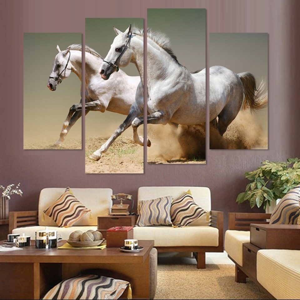 Favorite Horses Wall Art With Regard To Wall Art Home Decor Living Room Pictures 4 Panel Animal Racing (View 4 of 20)