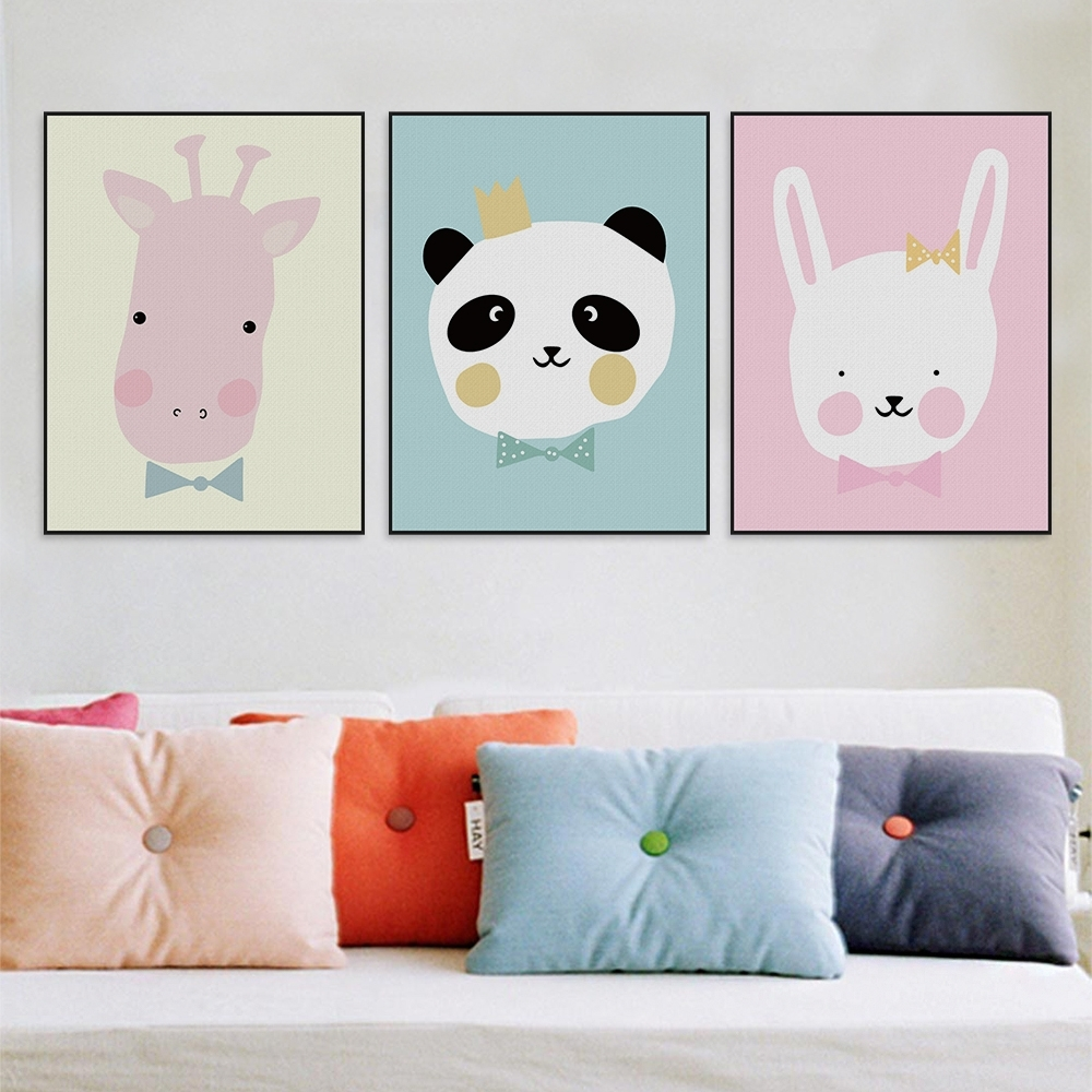 Favorite Kawaii Animals Lion Canvas Poster Print Cartoon Nursery Wall Art Inside Baby Room Wall Art (View 12 of 20)