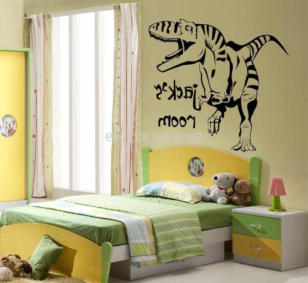 Favorite Kids Room Vinyl Wall Stickers Personalised Dinosaur Giant Wall Art Throughout Giant Wall Art (View 4 of 20)