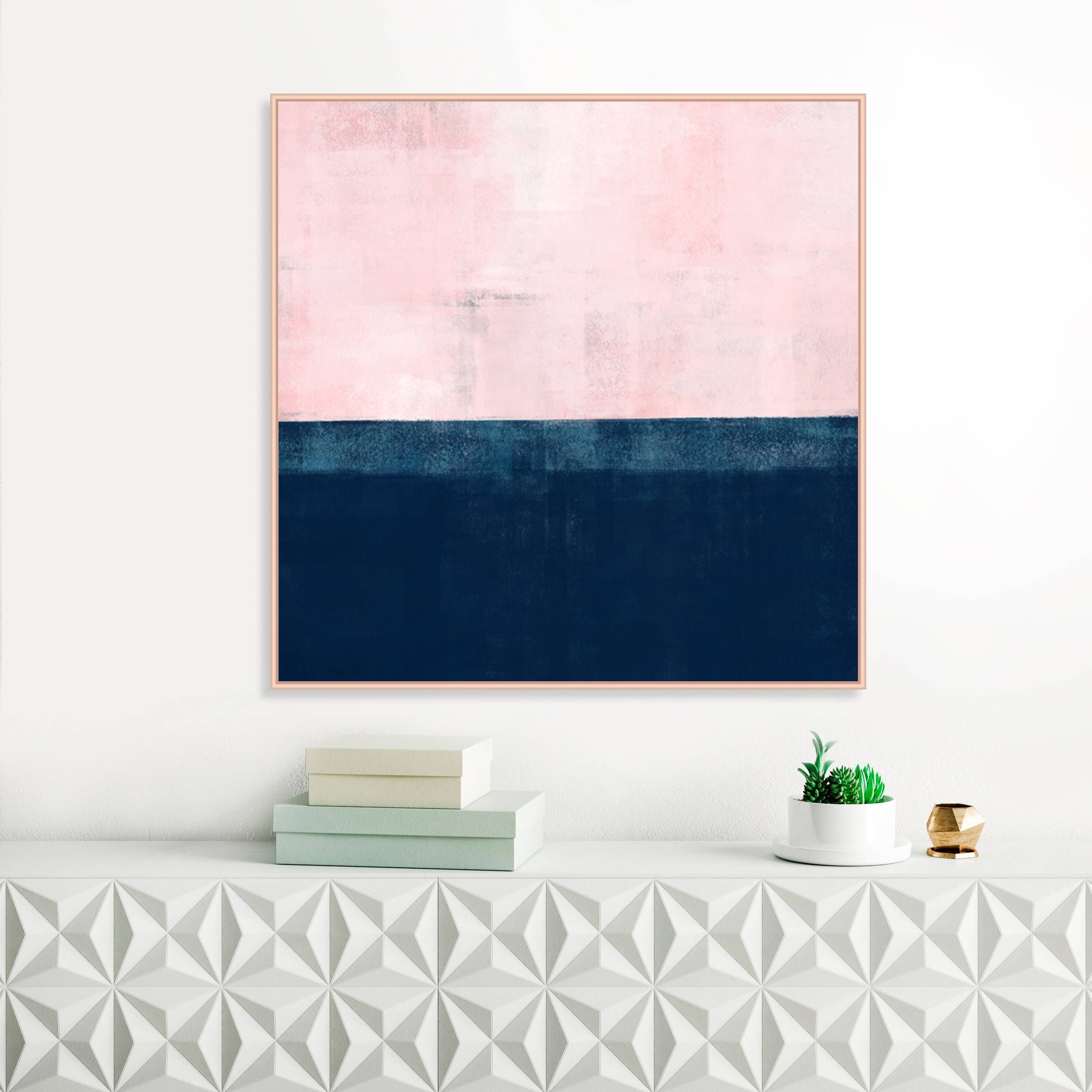 Favorite Oversized Pink And Navy Blue Abstract Wall Art, Pink And Indigo For Pink Wall Art (Gallery 19 of 20)