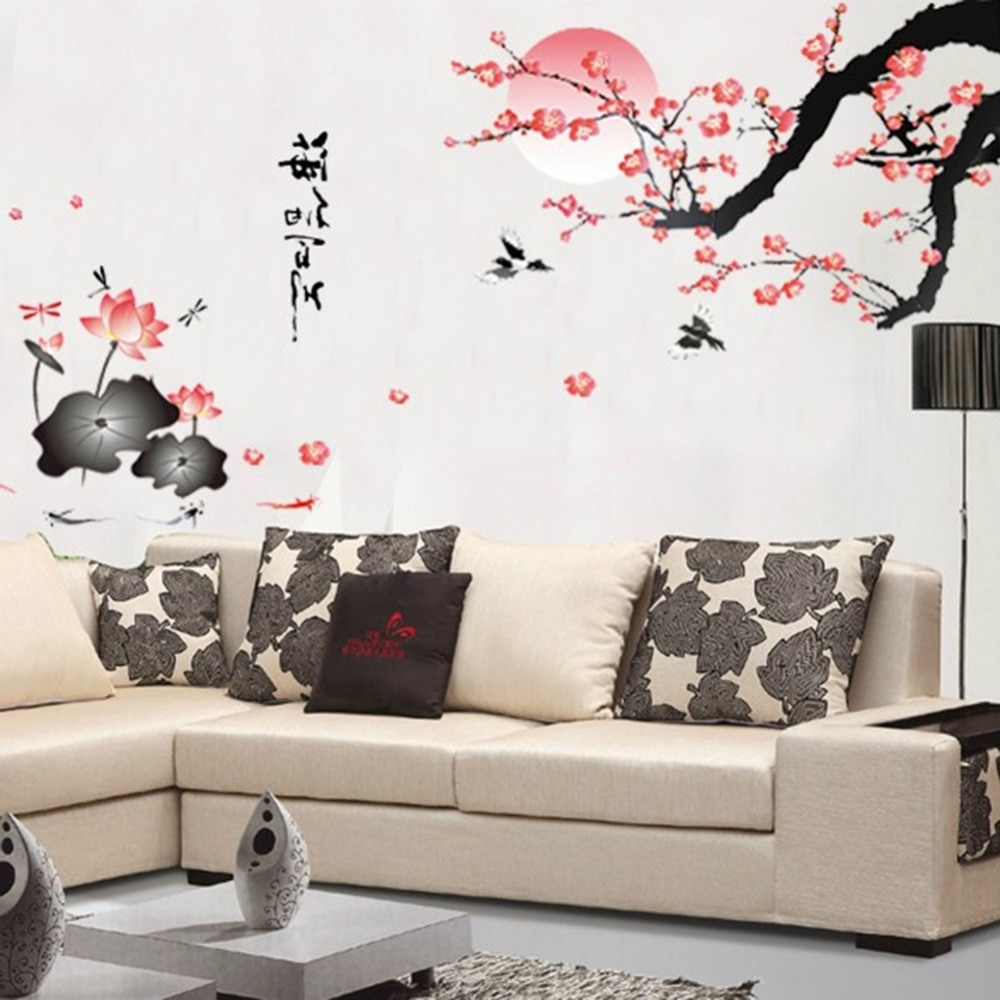 Favorite Wall Art Decals With Regard To Plum Blossom Lotus Flowers Removable Wall Art Decals Vinyl Stickers (View 6 of 15)