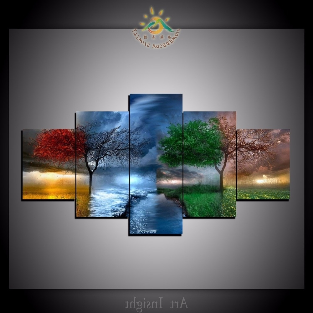 Favorite Wall Art Paintings With Regard To 5 Pieces/set Four Seasons Tree Wall Art Paintings Picture Painting (View 7 of 20)