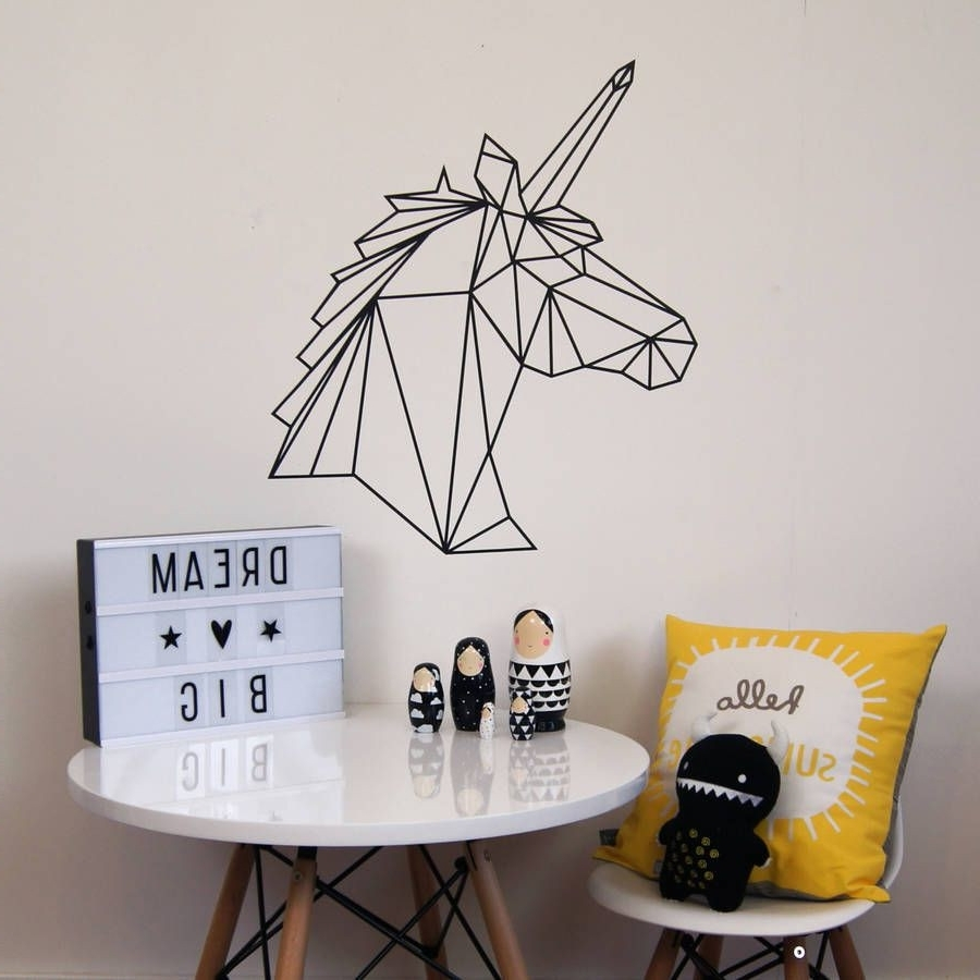 Favorite Washi Tape Wall Art With Regard To Geometric Unicorn Wall Sticker Design Ideas Of Washi Tape Wall Art (Gallery 17 of 20)