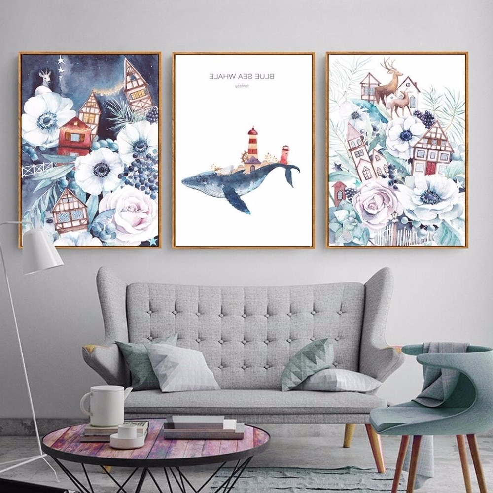 Favorite Whale Canvas Wall Art Intended For Nordic Cartoon Wall Art Animal Canvas Paintings Blue Sea Whale A (View 3 of 20)