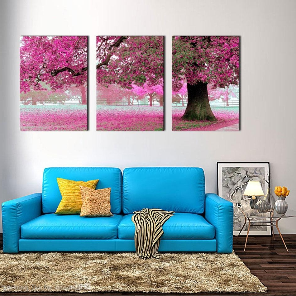 Favorite Wholesale Canvas Print Wall Art Painting For Home Decor Purple Pertaining To 3 Piece Canvas Wall Art (View 10 of 20)