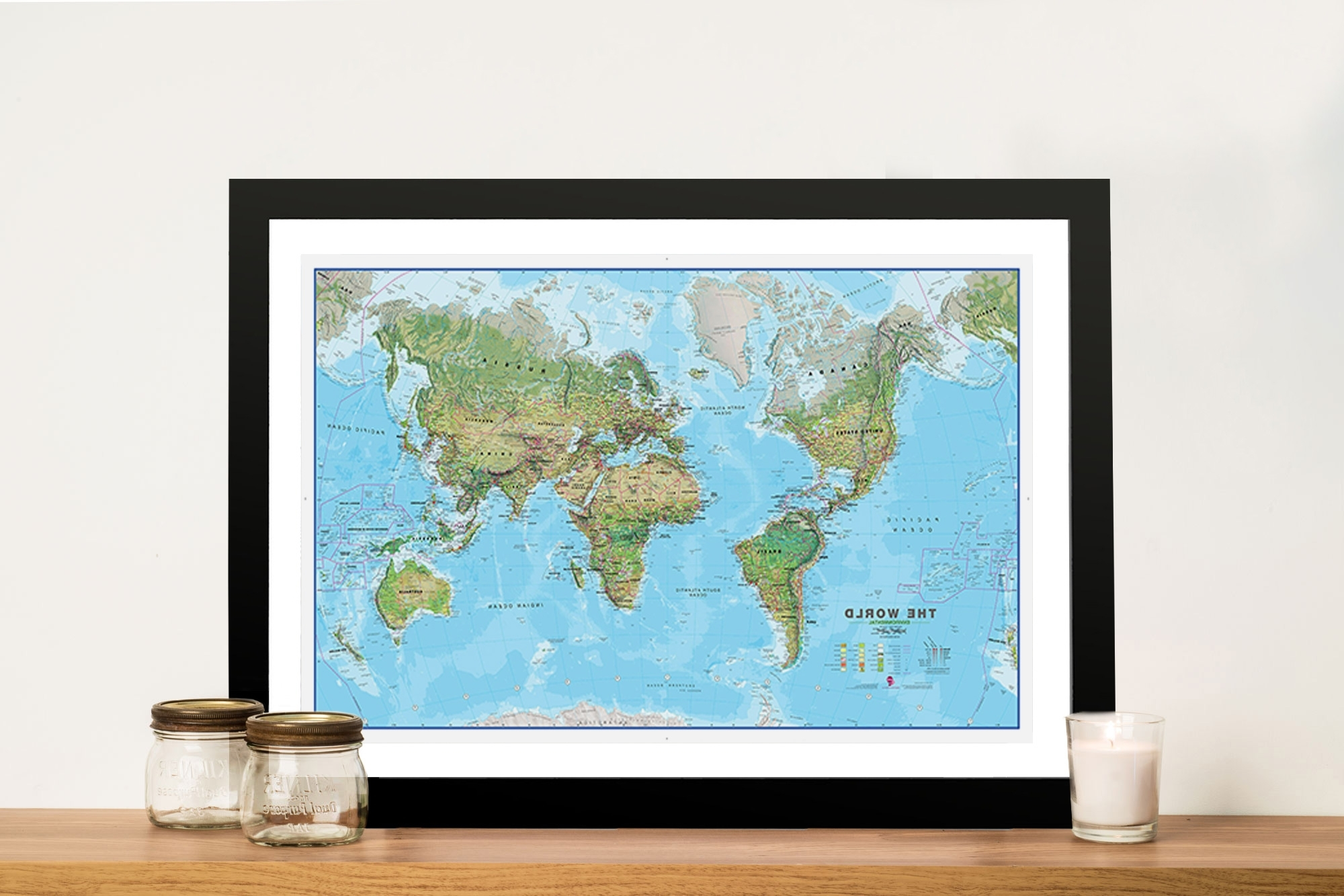 Favorite World Map Wall Art Framed Throughout Physical World Map Canvas Wall Art Sydney Australia (Gallery 17 of 20)
