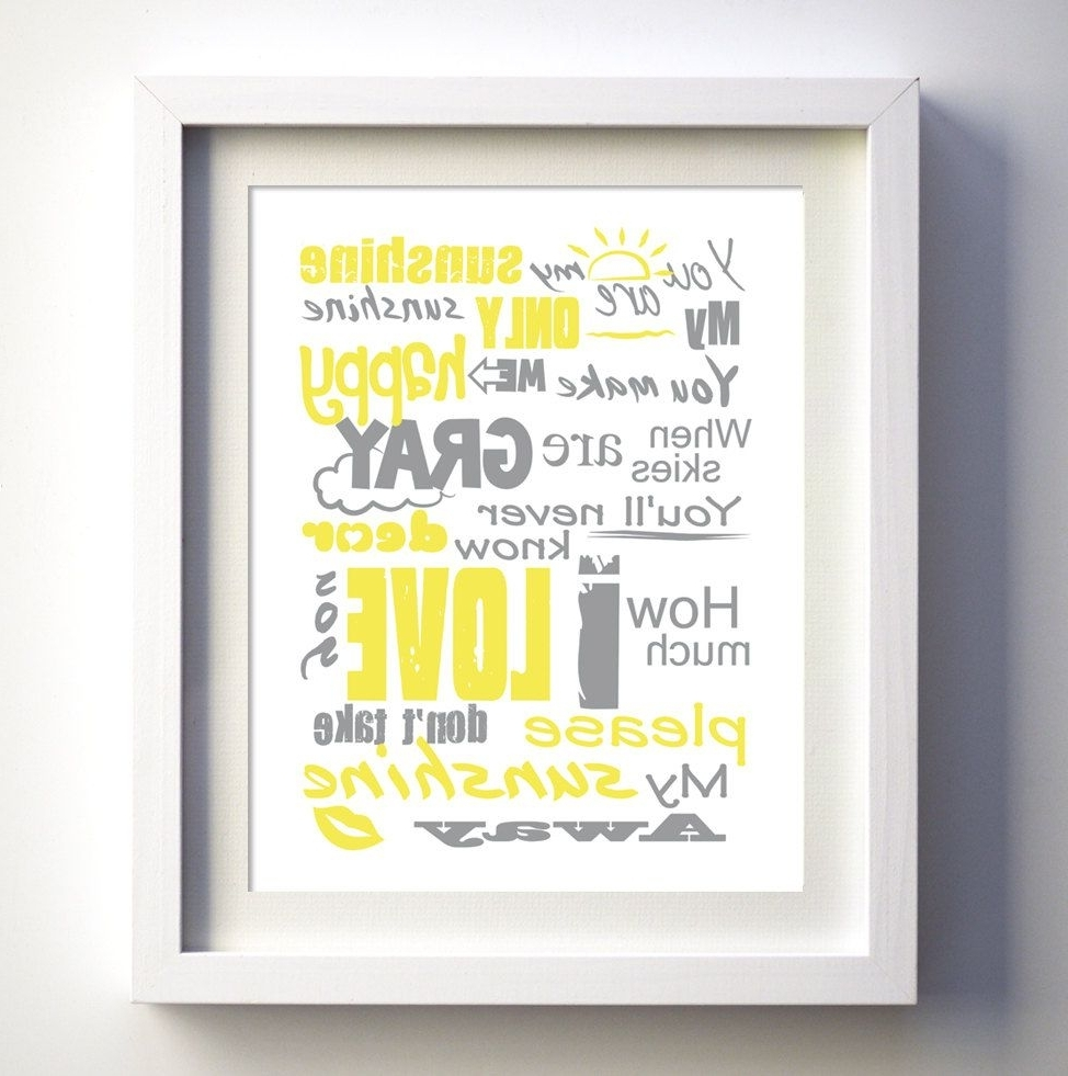 Favorite You Are My Sunshine Poster, Original Lyrics Song, Baby Birthday Gift Pertaining To You Are My Sunshine Wall Art (View 2 of 15)
