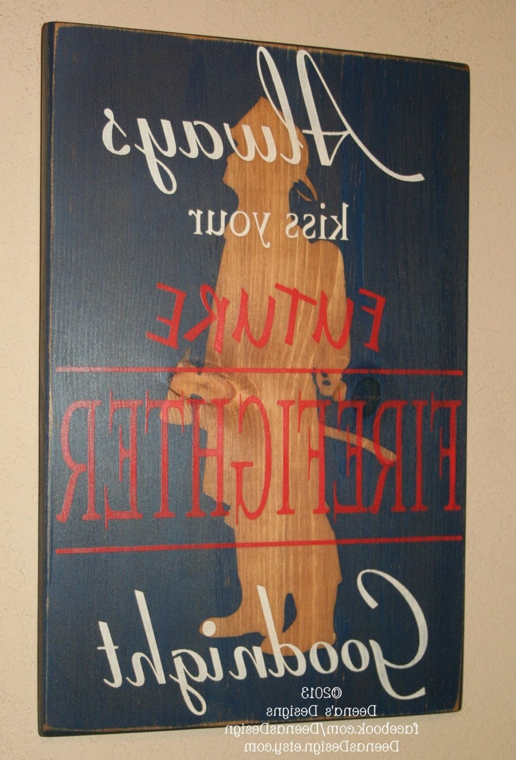 Firefighter Nursery, Firefighter Wall Art, Custom Wood Sign Pertaining To Fashionable Firefighter Wall Art (View 3 of 20)