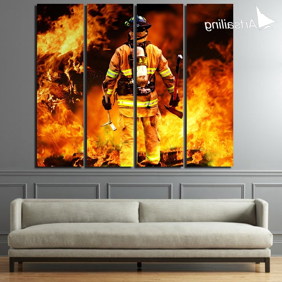 Firefighter Wall Art For Most Up To Date 4 Piece Kanvas Seni Fireman Firefighter Lukisan Dinding Dekorasi (View 5 of 20)