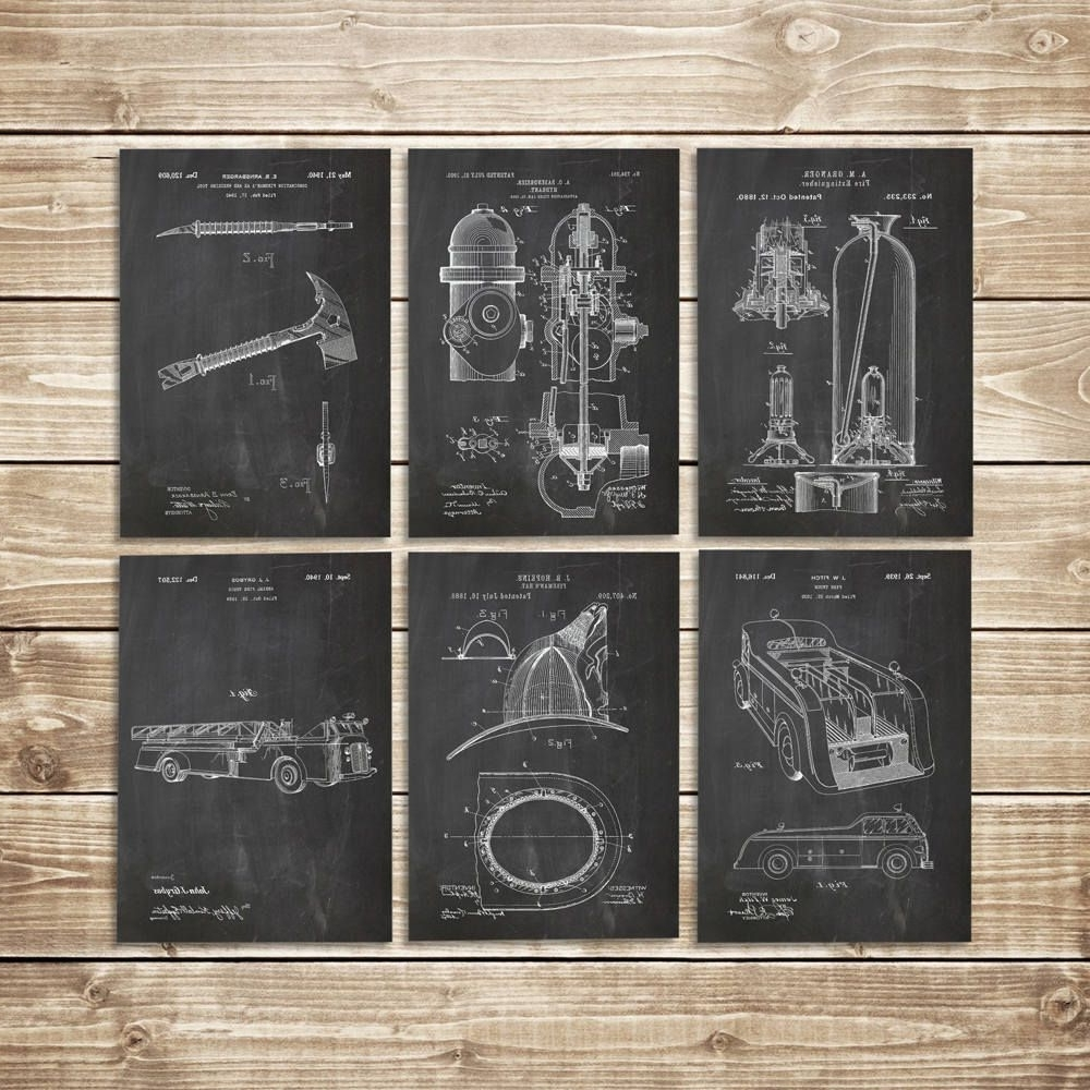 Firefighter Wall Art, Patent Print Set, Firefighter Decor, Fireman With Newest Firefighter Wall Art (View 9 of 20)