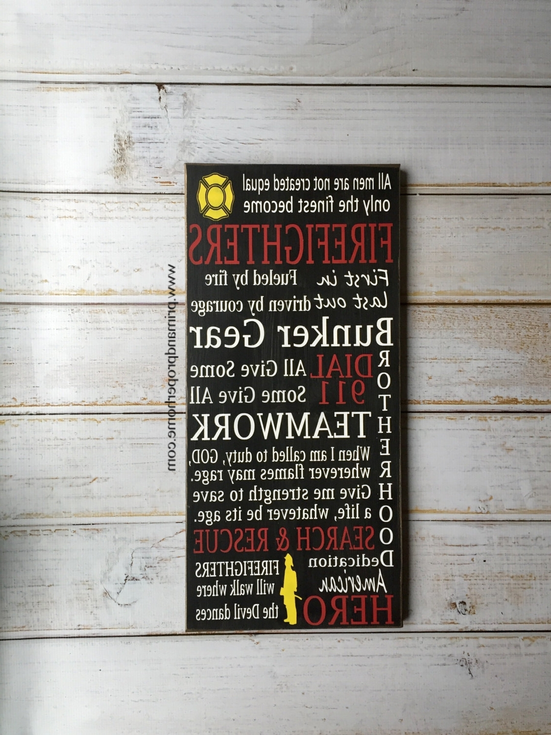 Firefighter Wall Art Pertaining To Most Up To Date Firefighter – Hand Painted Typography Wall Art – Prim & Proper (View 6 of 20)