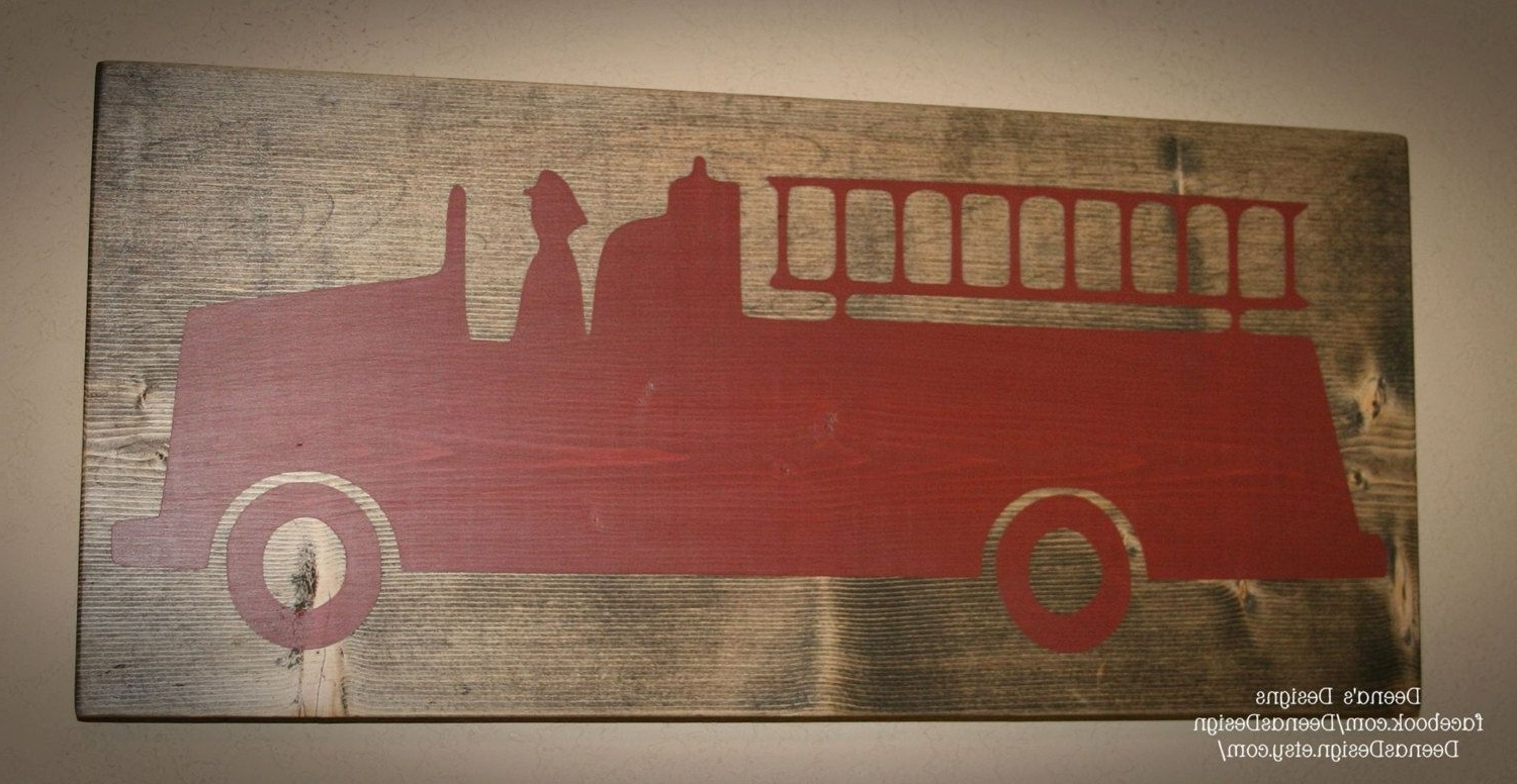 Firefighter Wall Art With Best And Newest Firefighter Sign, Firefighter Decor, Distressed Wood Sign, Firetruck (View 8 of 20)