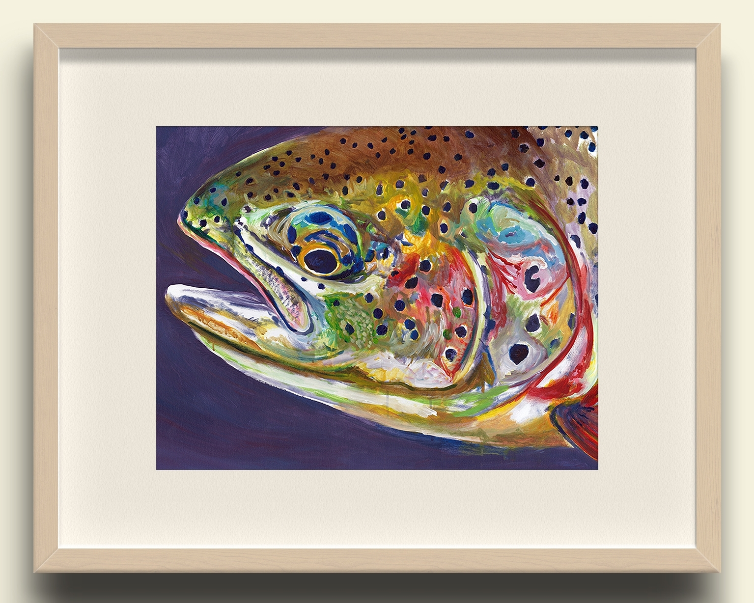 Fish Painting Wall Art Intended For Fashionable Rainbow Trout Close Up Wall Art Print – Purple – Jack Tarpon Art (View 6 of 20)