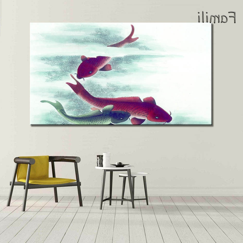 Fish Painting Wall Art Pertaining To Favorite 1Piece Koi Fish Wall Art Chinese Painting Wall Art On Canvas Home (View 7 of 20)