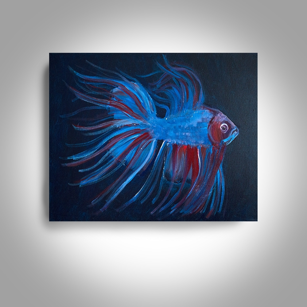 Fish Painting Wall Art Within Favorite Acrylic Fighting Fish – 20 X16 Canvas Painting, Wall Art, Home Decor (View 10 of 20)