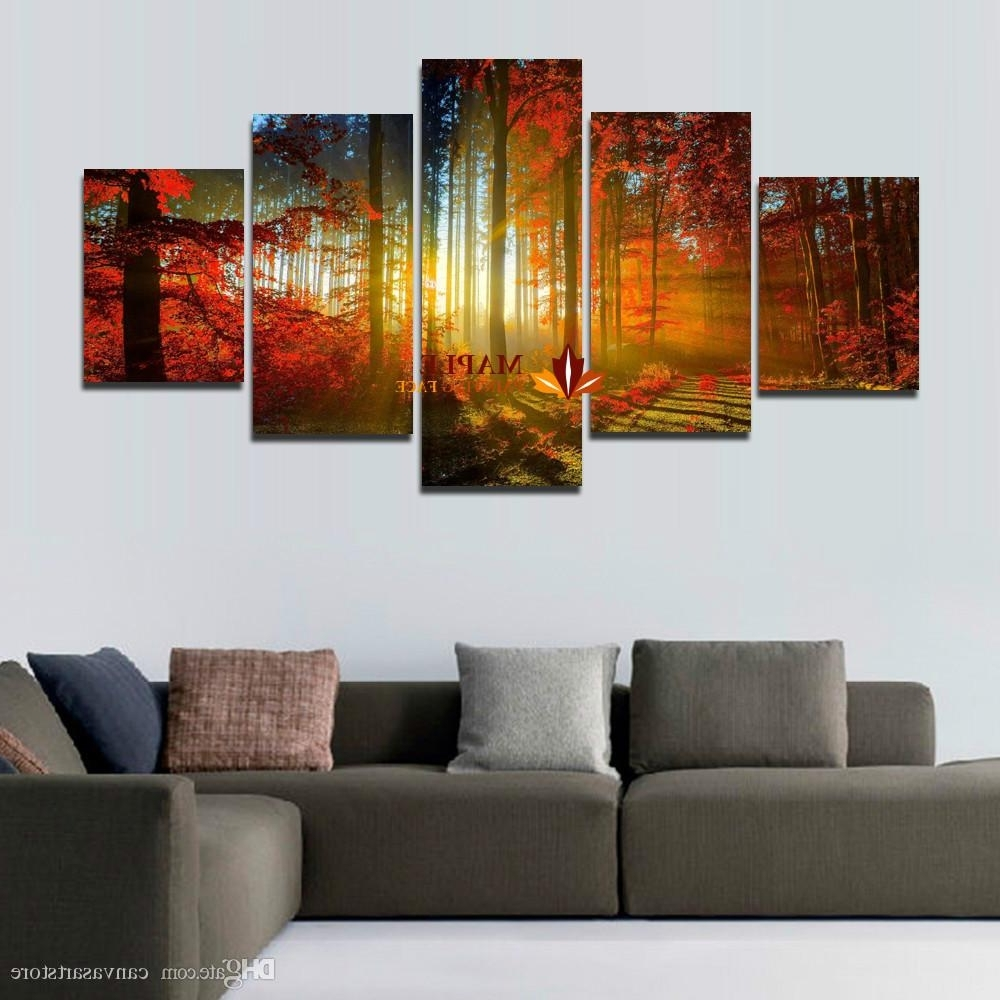 Five Piece Canvas Wall Art Throughout Most Up To Date 5 Panel Forest Painting Canvas Wall Art Picture Home Decoration For (View 7 of 20)