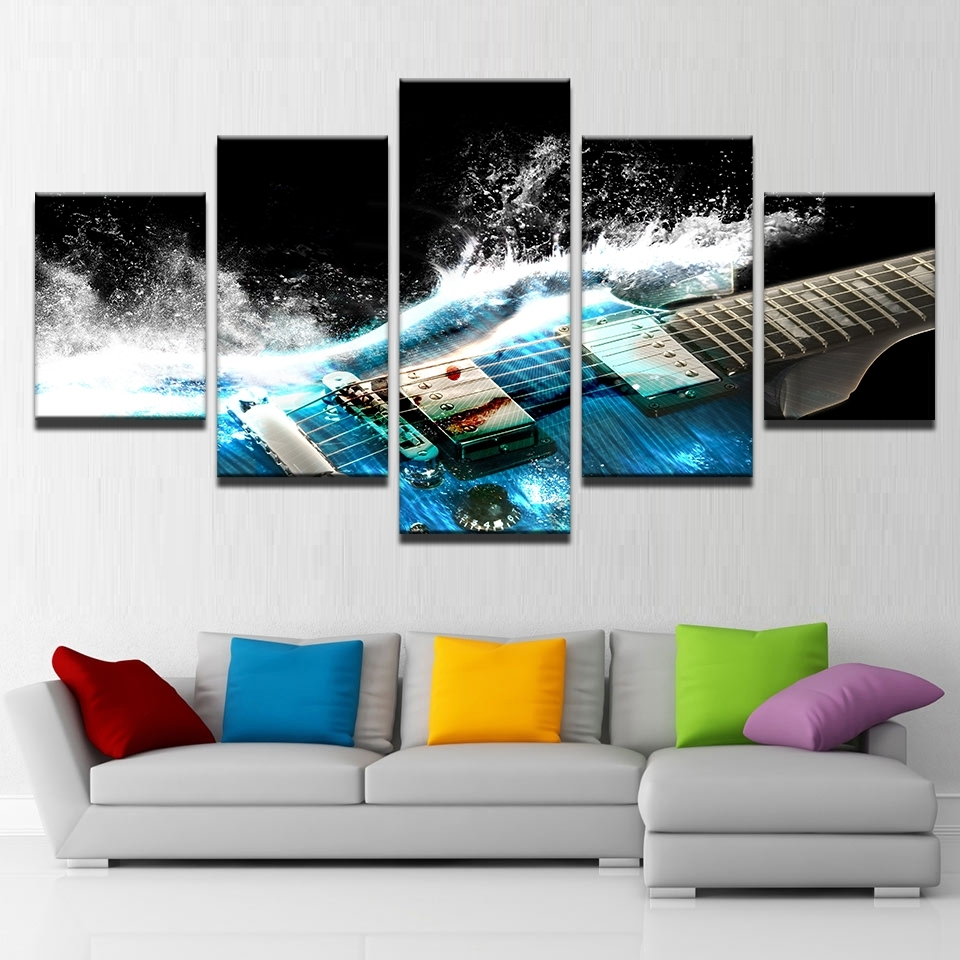 Five Piece Canvas Wall Art With Newest 5 Pieces Abstract Blue Guitar Canvas Wall Art Pictures Home Decor (View 8 of 20)