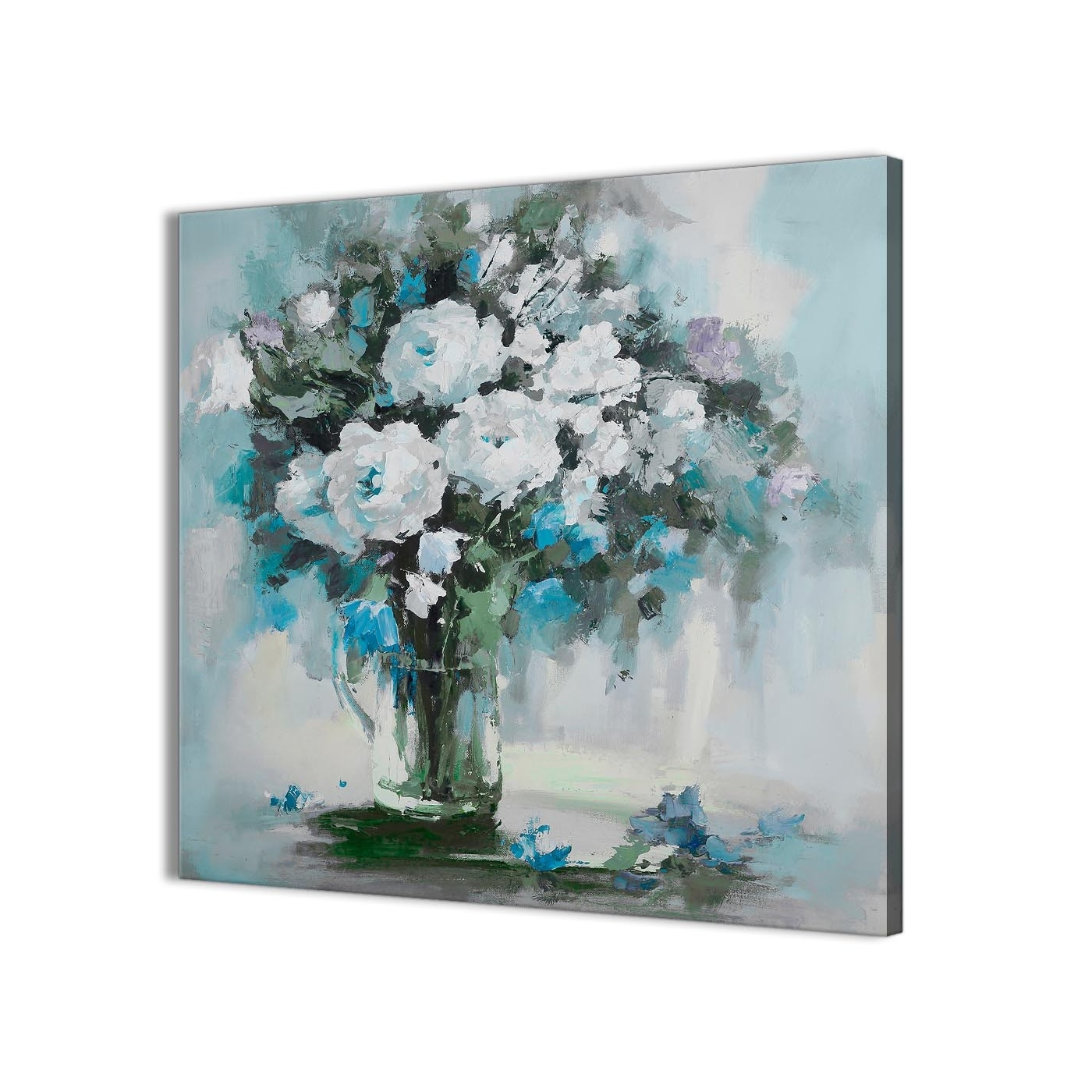 Floral Canvas Wall Art Pertaining To Popular Teal White Flowers Painting Bathroom Canvas Wall Art Accessories (View 5 of 20)
