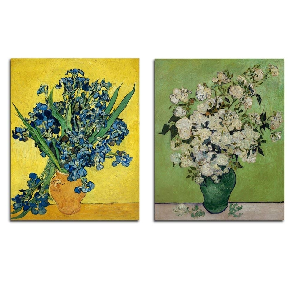 Floral Canvas Wall Art Throughout Preferred Amazon: Wieco Art Irises In Vase Floral Canvas Prints Wall Art (View 8 of 20)