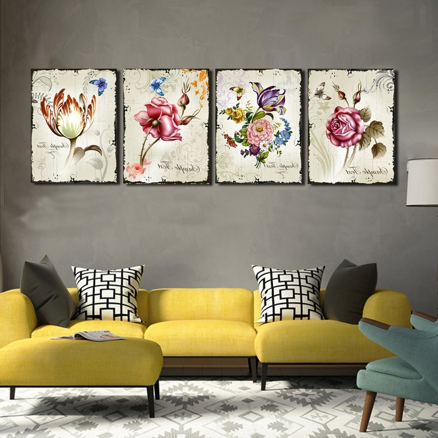 Floral Wall Art Inside Most Popular 4 Pieces Classic Floral Wall Art Canvas Prints Flower Combination (Gallery 5 of 20)