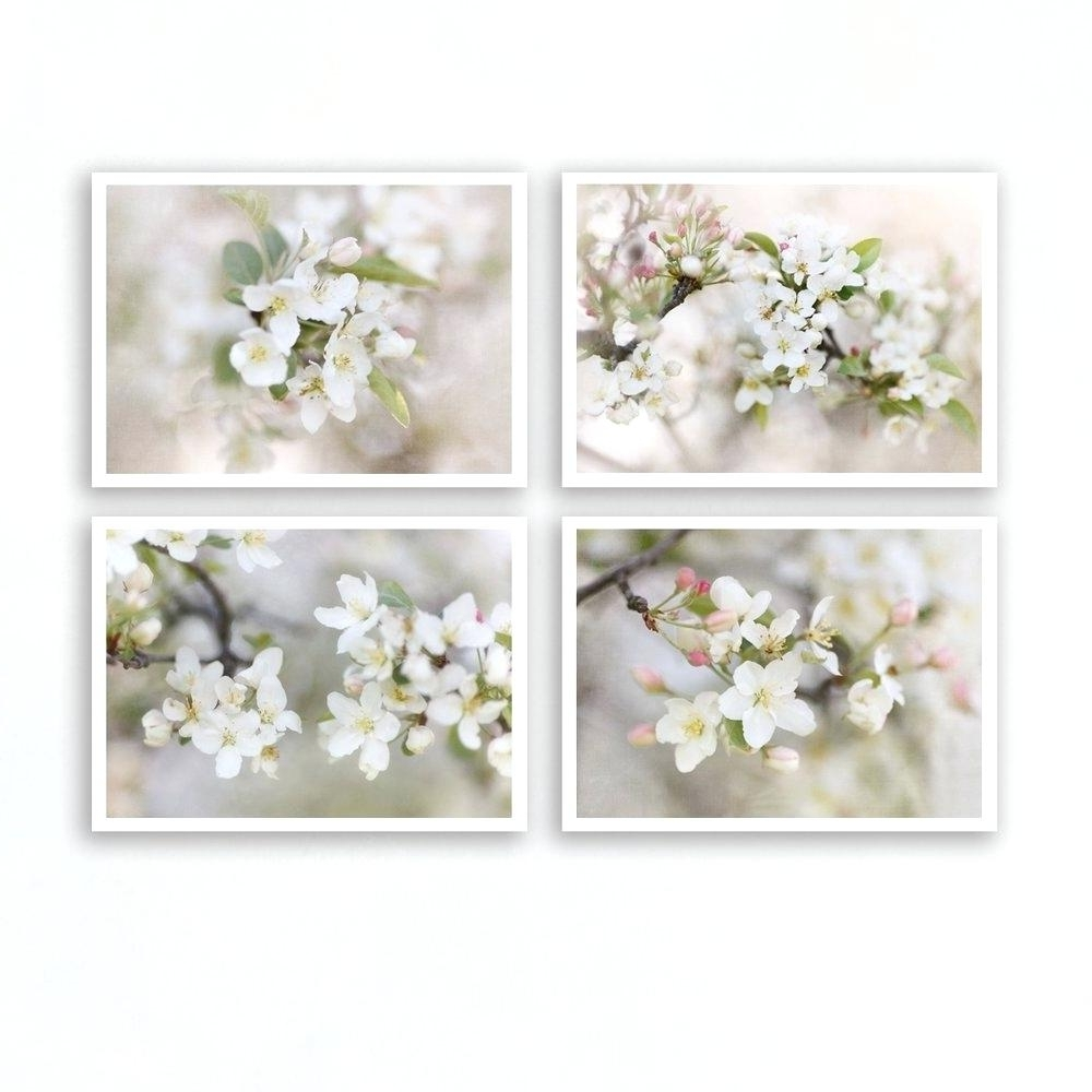 Floral Wall Art Set Of 4 Prints Floral Wall Art Large Framed Floral Inside Most Recently Released Floral Wall Art (View 9 of 20)