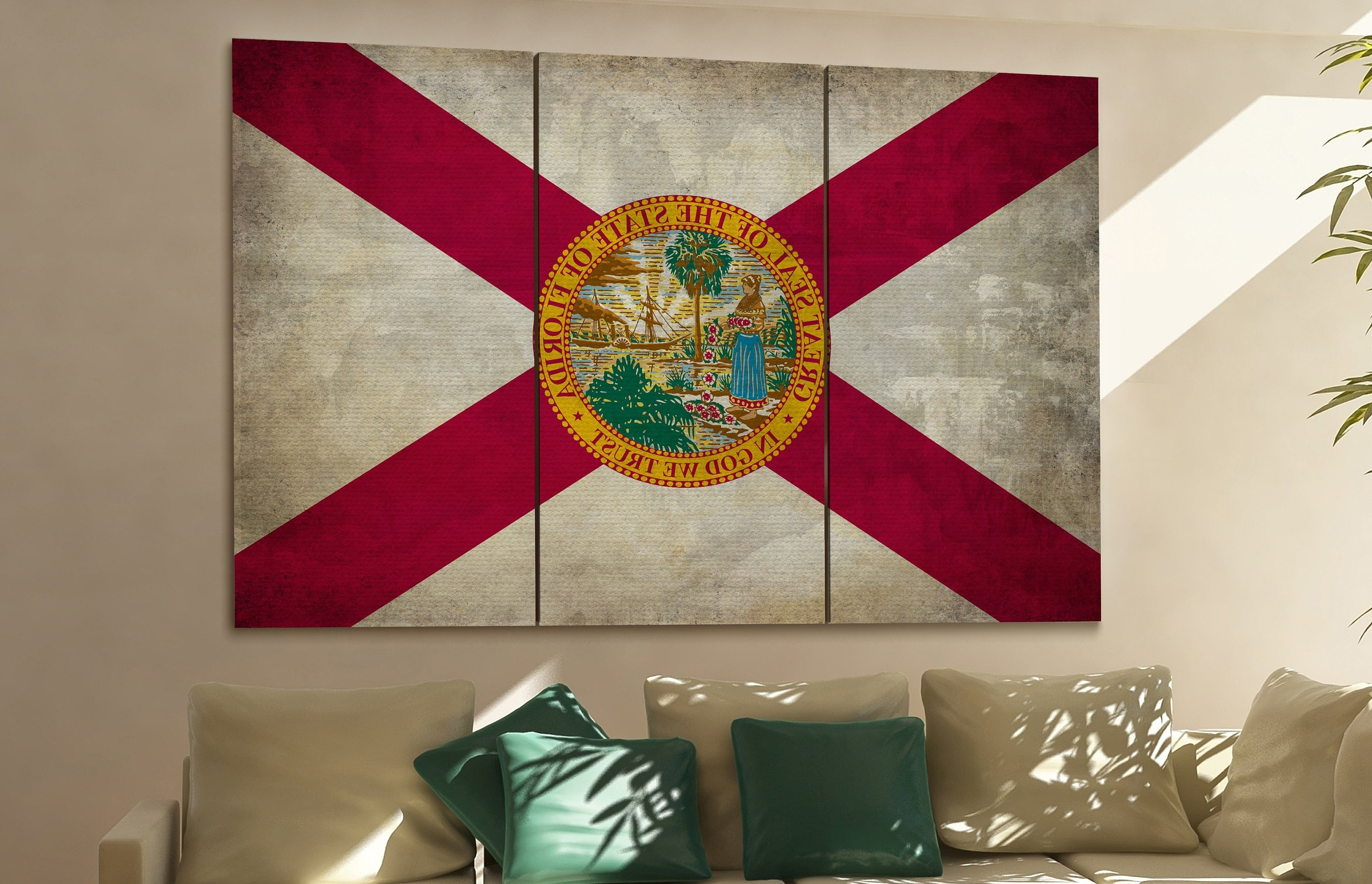 Florida State Flag Florida Flag State Of Florida Florida Wall Decor Throughout Fashionable Florida Wall Art (View 9 of 20)