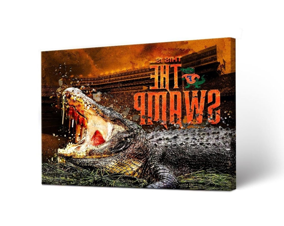 Florida Wall Art In Most Recently Released Florida Uf Gators Canvas Wall Art The Swamp Design (View 11 of 20)