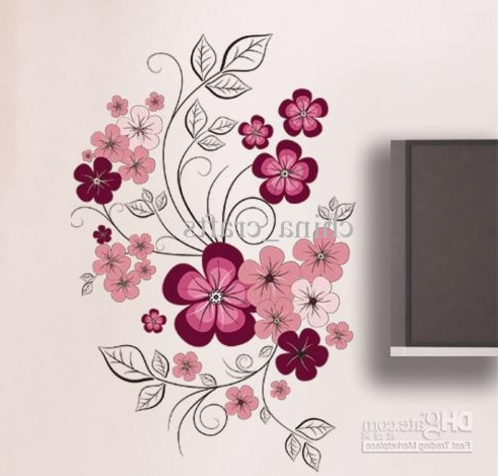 Flower Wall Art Decor Wholesale Removable Swallow And Flowers Wall Intended For Well Liked Flower Wall Art (View 11 of 20)