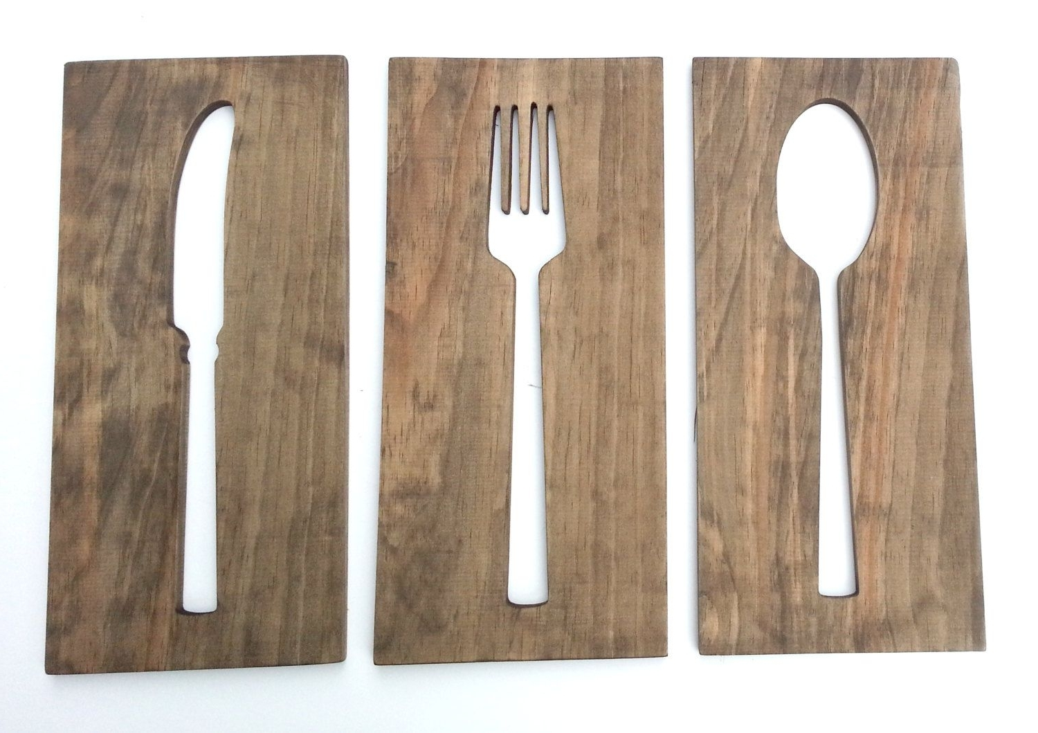 Fork And Spoon Wall Art With Most Recent 24'' Kitchen Art Fork Spoon Knife Wall Decor Modern Wood Decoration (View 5 of 20)