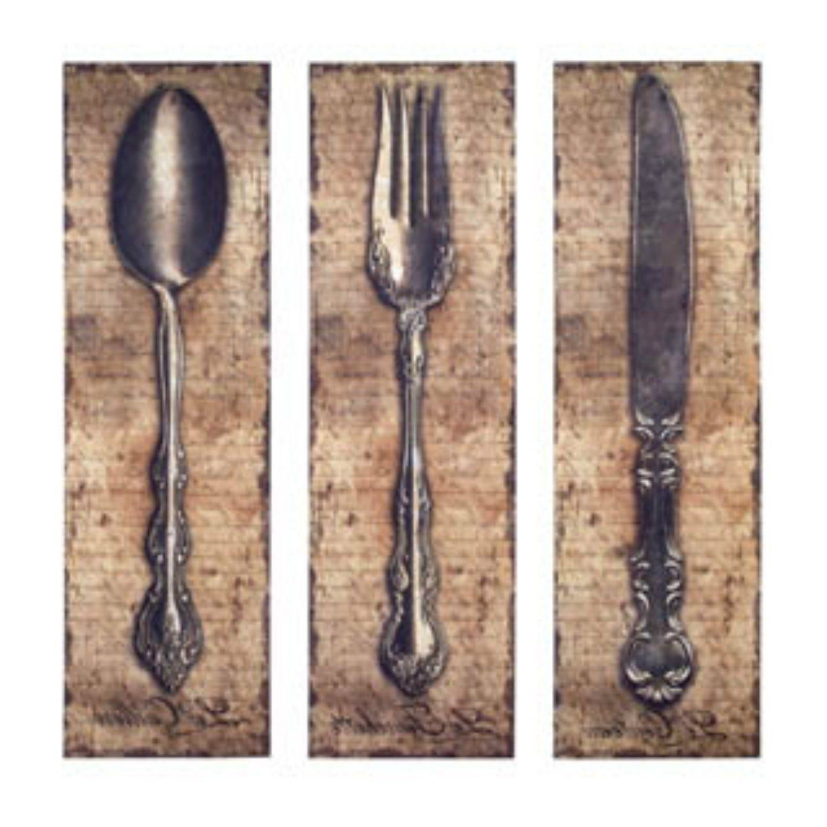 Fork And Spoon Wall Art With Regard To Trendy Vintage Kitchen Silverware Canvas Wall Art Spoon Knife Fork (View 7 of 20)