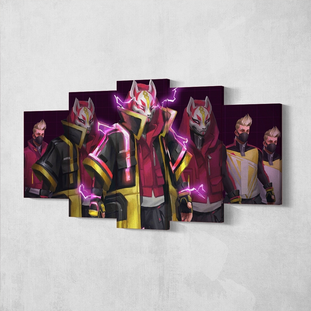 Fortnite 92 Drift 5 Piece Canvas Wall Art Gaming Canvas – Game Wall Art Within Most Current 5 Piece Wall Art Canvas (View 11 of 15)