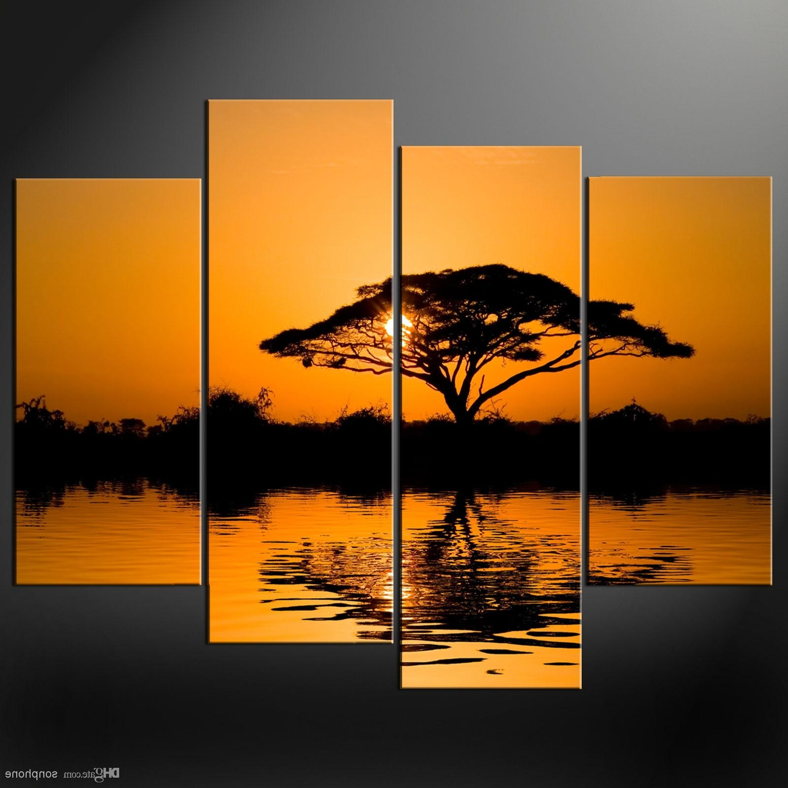 Framed 4 Panel Large African Wall Art Decor Modern Sunset Oil Intended For Latest African Wall Art (Gallery 3 of 15)
