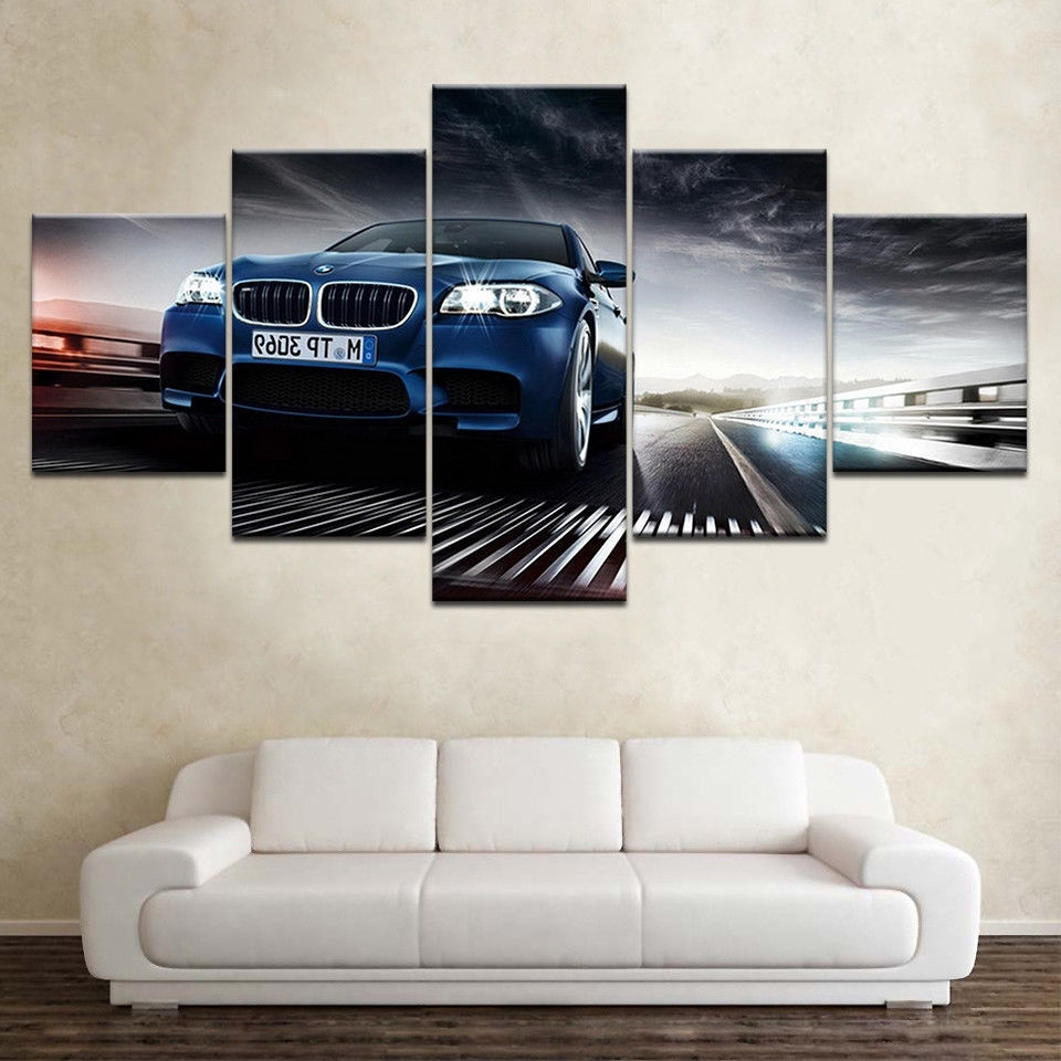 Framed 5 Panel Blue Bmw M Car Canvas Print Painting Wall Art Picture Pertaining To Well Liked Car Canvas Wall Art (View 13 of 20)