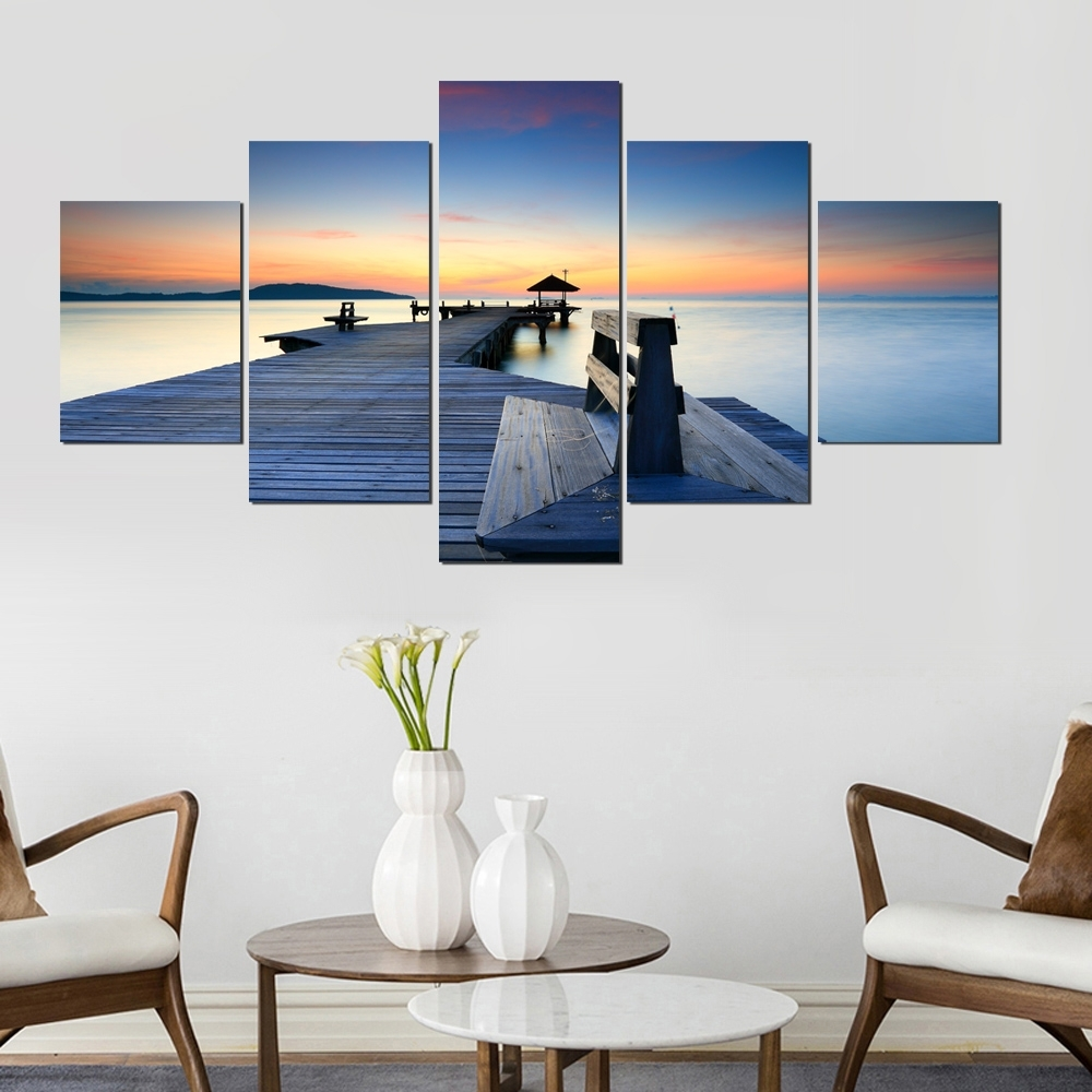 Framed Abstract Modern Home 5 Panel Wood Plank Road View Decor Inside Current Plank Wall Art (View 15 of 20)