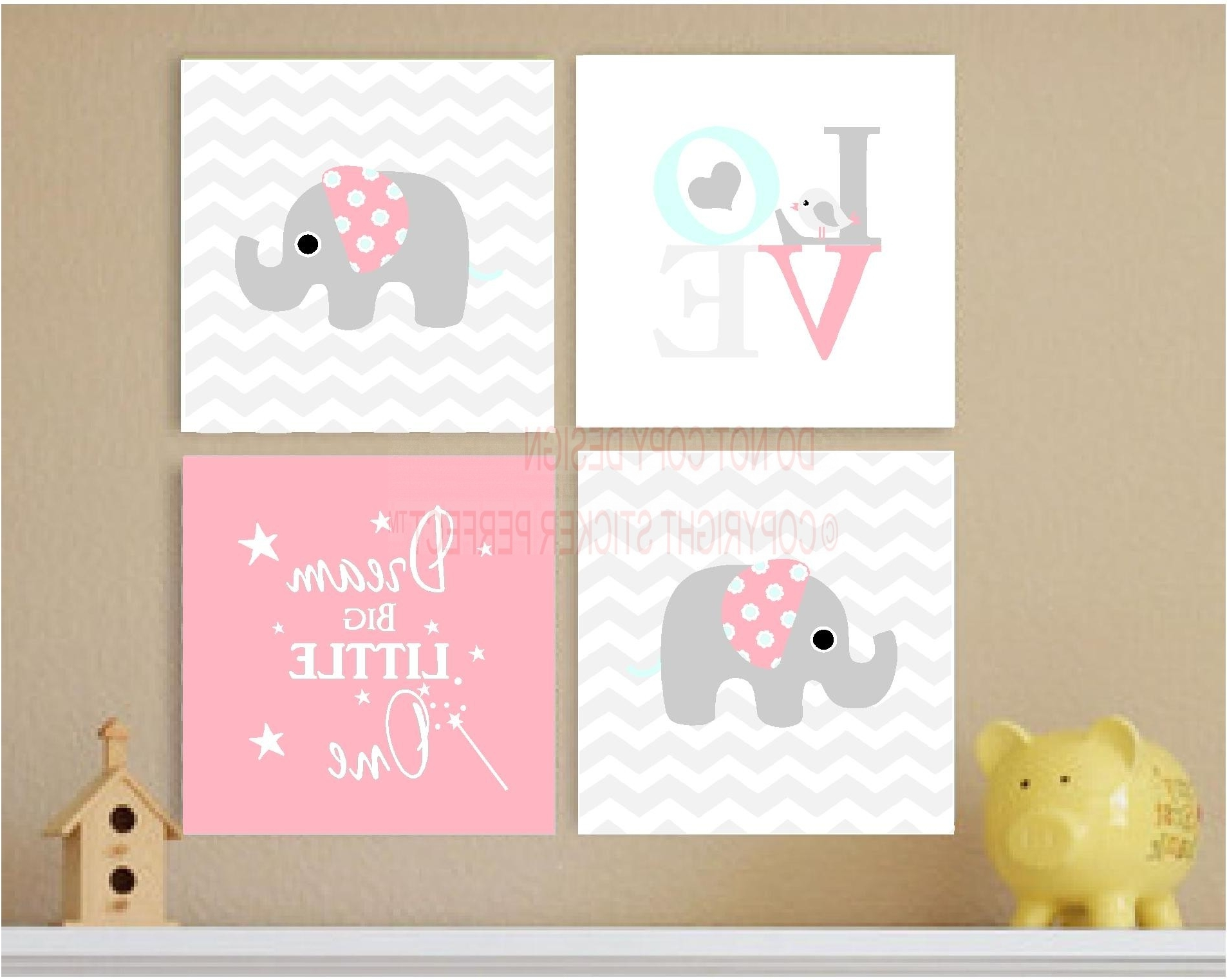 Framed Canvas Print Love 4 Piece Set #2 Cute Elephant Bird Pertaining To Recent Bird Framed Canvas Wall Art (View 14 of 20)