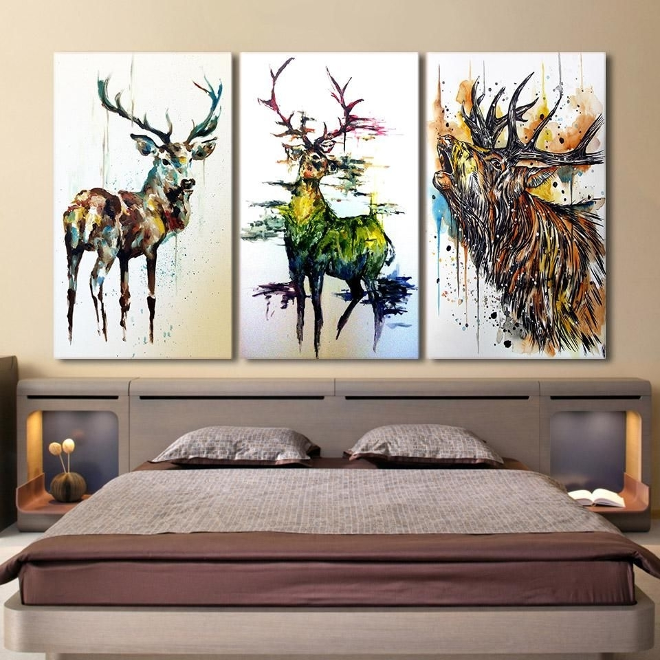 Framed Wall Art For Living Room Intended For Trendy Hd Printed 3 Piece Elk Graffiti Deer Canvas Paintings For Living (View 11 of 20)