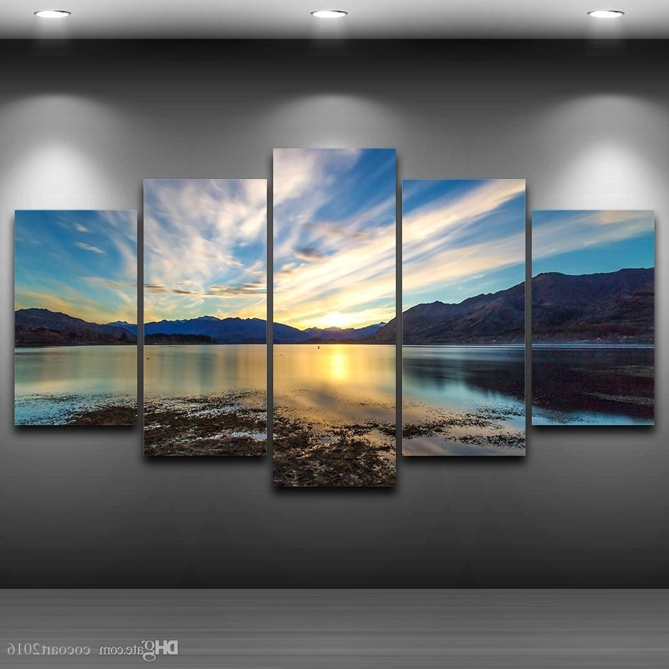 Framed Wall Art Regarding 2018 2018 5 Panel Lake Sky Clouds Framed Wall Art Picture Spray Oil (View 6 of 15)