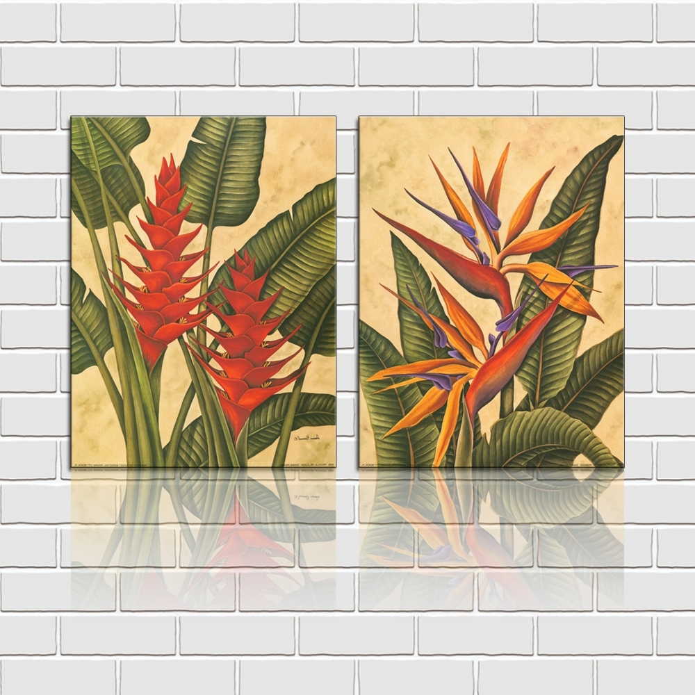 Free Shipping 2 Pieces Wall Art Set Tropical Flowers Canvas Prints Regarding Recent Tropical Wall Art (Gallery 3 of 20)