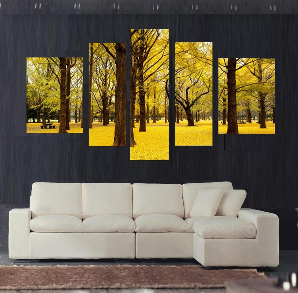 Free Shipping 5Pcs Autumn Scenery Yellow Leaves Home Decor Wall Art For Recent Yellow Wall Art (View 4 of 20)