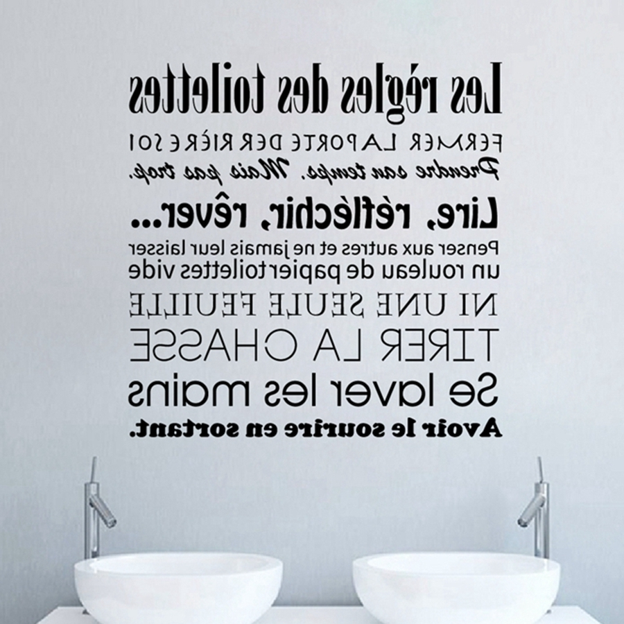 French Bathroom Rules Wall Stickers French Toilet Rules Vinyl Wall Within 2017 Bathroom Rules Wall Art (View 13 of 20)