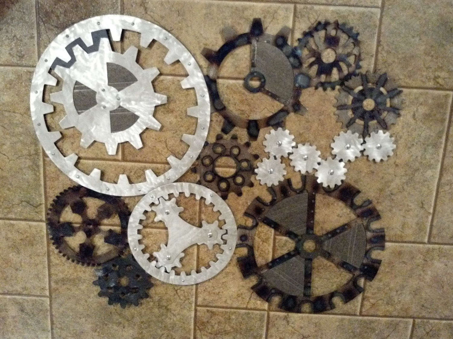 Gears Art, Industrial, Steampunk Wall Decor Made To Order Throughout Famous Steampunk Wall Art (View 5 of 20)