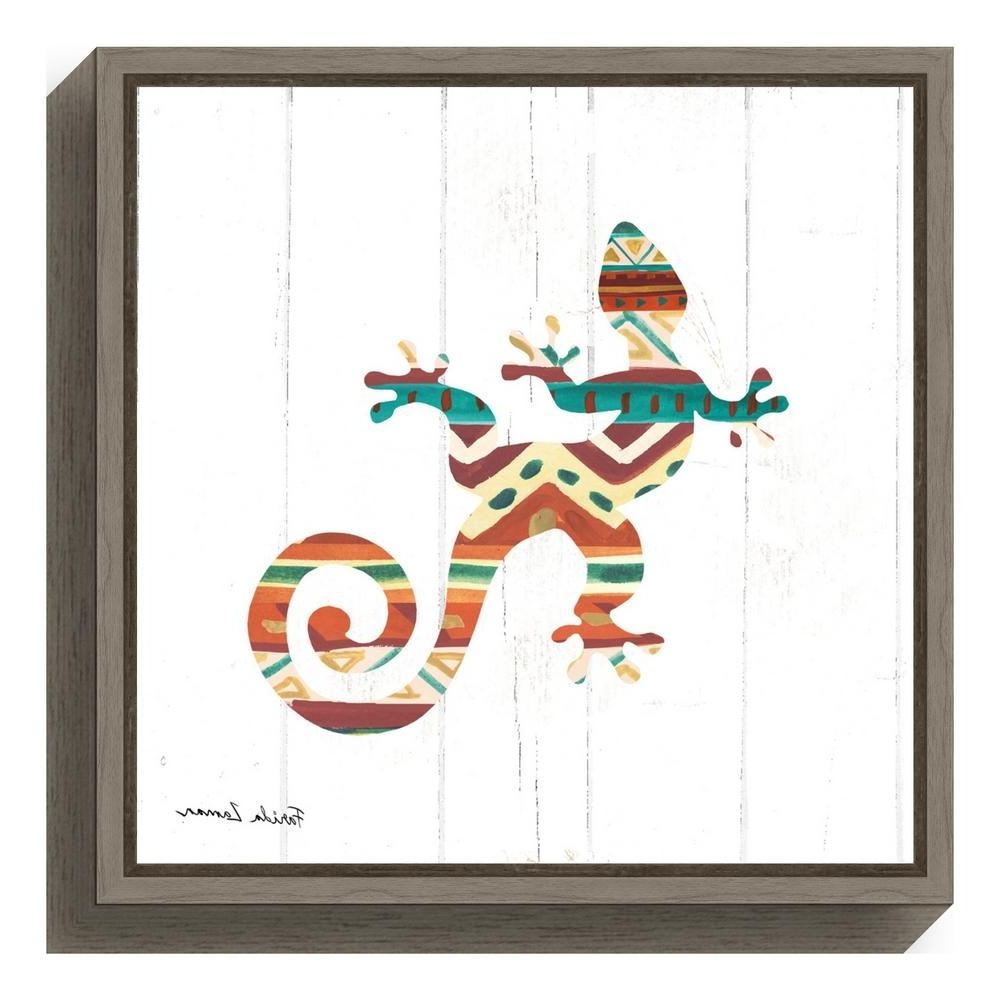"Gecko Canvas Wall Art In Well Known Amanti Art ""southwestern Vibes V Gecko""farida Zaman Framed (View 10 of 20)"