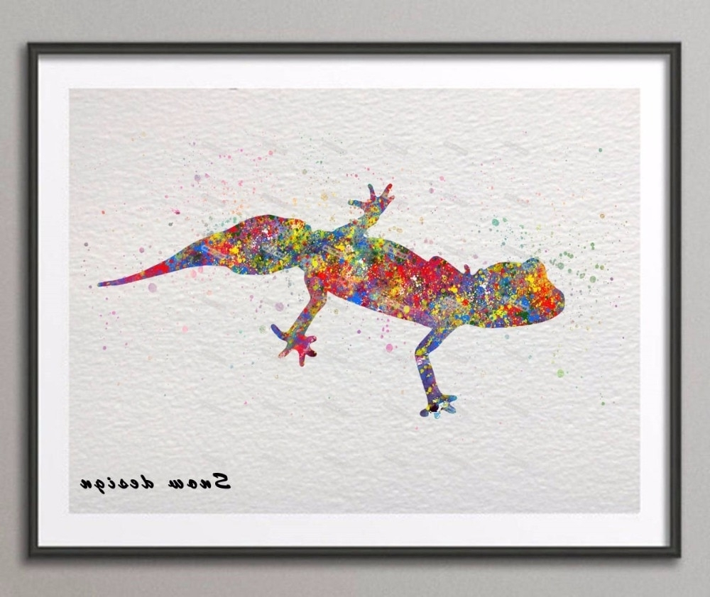 Gecko Canvas Wall Art Pertaining To Well Known Diy Original Barking Gecko Watercolor Canvas Painting Wall Art (View 11 of 20)
